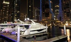 Dubai Marina Walk Yachts at Night