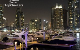 Dubai Marina Walk Yachts at Night 3