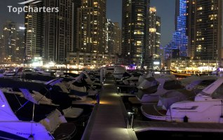 Dubai Marina Walk Yachts at Night 4
