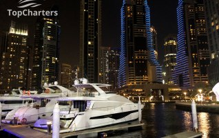 Dubai Marina Walk Yachts at Night 1