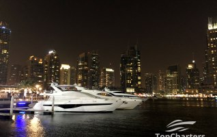Dubai Marina Walk Yachts at Night 5